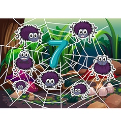 Number 7 with seven spiders on web vector