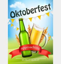 Oktoberfest festive realistic poster vector