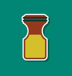 Paper sticker on stylish background coffee jar vector