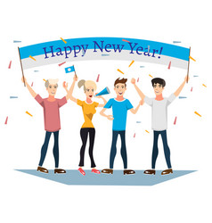 People celebrating new year with banner vector