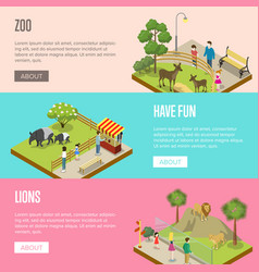 Public zoo isometric 3d posters set vector