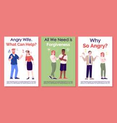 Quarrel and apologizing brochure template vector