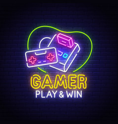 retro games neon sign bright signboard vector image