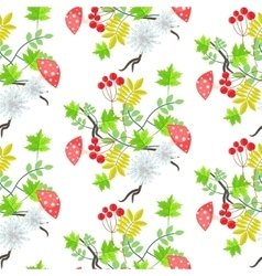 Rowan leaves and amanita mushroom seamless pattern vector image