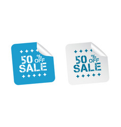 Sale stickers 50 percent off on white background vector