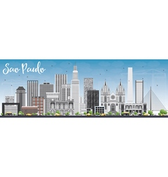 Sao Paulo Skyline with Gray Buildings vector image