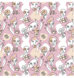seamless pattern with woman faces cherry flowers vector image