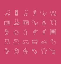 set line icons tennis vector image