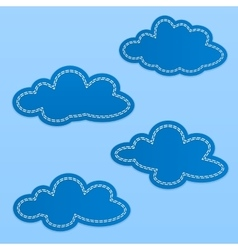 Set of cloud textile tags Blue sky clouds with vector image