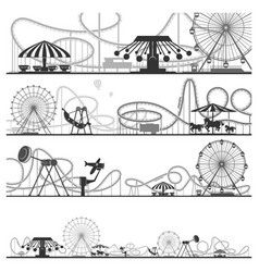 Set of horizontal amusement park silhouettes vector