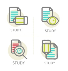 Set of line design concept icons education vector
