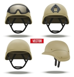 Set of Military tactical helmets desert color vector image
