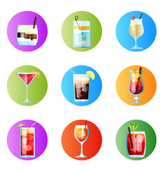 set of nine tropical cocktails rounded image vector image