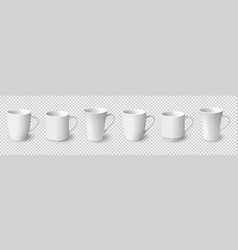 Set of realistic white coffee mugs isolated vector