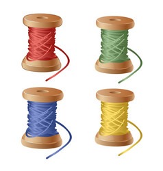 set of spool of cartoon colorful thread equipment vector image