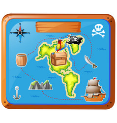 Ship travelling at sea with map vector