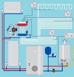 Smart energy-saving heating system vector