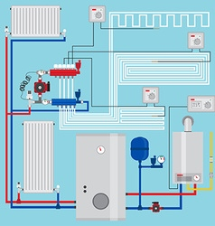 Smart energy-saving heating system with vector image vector image