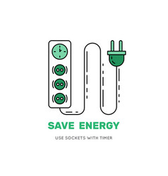 smart power socket with timer save energy vector image