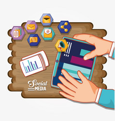 social media set icons with wooden background vector image