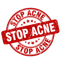 stop acne red grunge stamp vector image