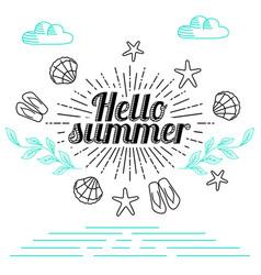 summer postcard design sunburst vector image