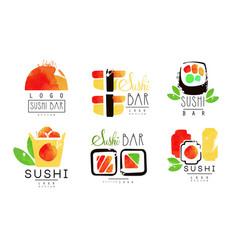 sushi bar logo original design collection vector image