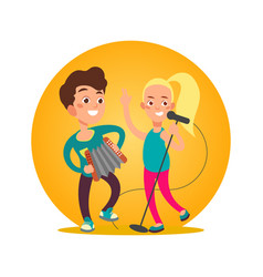 teenagers musician group girl and boy vector image