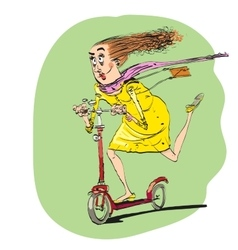 The woman rides off on a scooter vector image