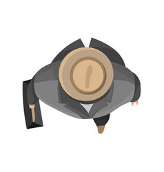 top view people businnesman with hat and bag on vector image