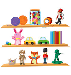 Toys and books on wooden shelves vector