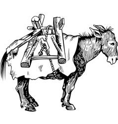 Transportation donkey vector