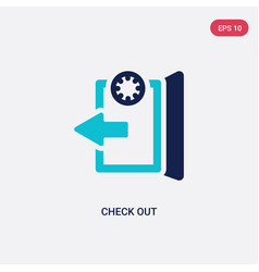 Two color check out icon from accommodation vector