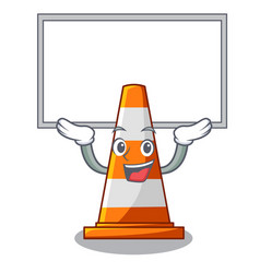 Up board traffic cone on road cartoon shape vector