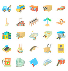 Urban elements icons set cartoon style vector