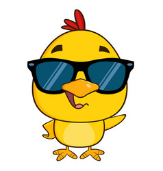 Yellow chick character wearing sunglasses waving vector