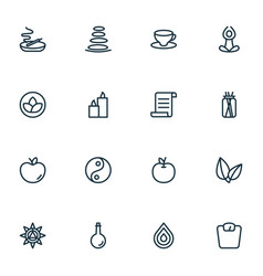 yoga icons line style set with oil bottle drop vector image