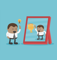 Young businessman have good ideas see reflection vector