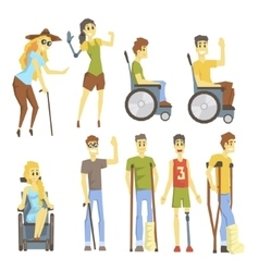 Young People With Permanent And Temporary vector image