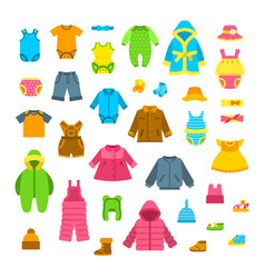 baby clothes flat set vector image vector image