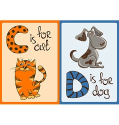 Children Alphabet with Funny Animals Cat and Dog vector image vector image