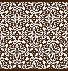 damask seamless floral pattern with brown flowers vector image