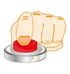 Finger on red button vector