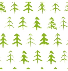 Grungy chrismas tree seamless pattern vector image vector image