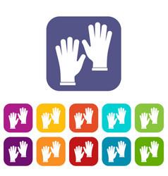 Medical gloves icons set flat vector