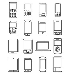 Mobile phones line icons set vector image vector image