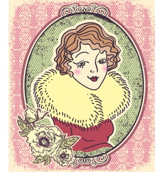 Vintage woman portrait with flowers and romantic vector image vector image