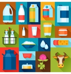 with dairy products in flat design vector image vector image