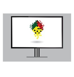 3D image of high definition TV isolated on grey vector image