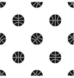 basketball ball pattern seamless black vector image